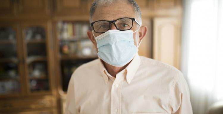 Gentleman wearing a face mask