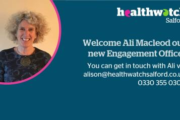 A photo of Ali Macleod and text which welcomes Ali to the team